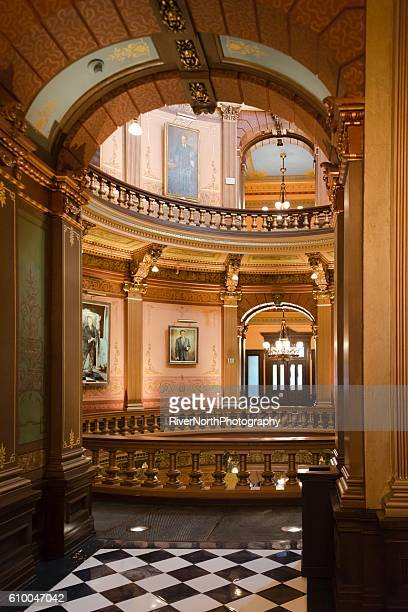 capitol building interior, lansing michigan - capital cities stock photos and pictures