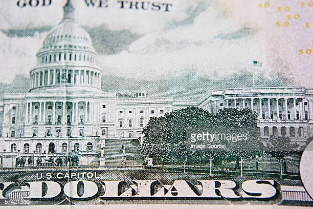 capitol building on a fifty dollar bill - money texture fotografías e imágenes de stock