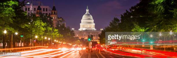 capitol building panorama on pennsylvania avenue in washington dc usa - washington dc stock pictures, royalty-free photos & images