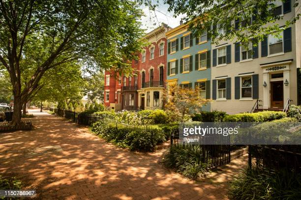 capitol hill historic community in washington dc usa - terraced_house stock pictures, royalty-free photos & images