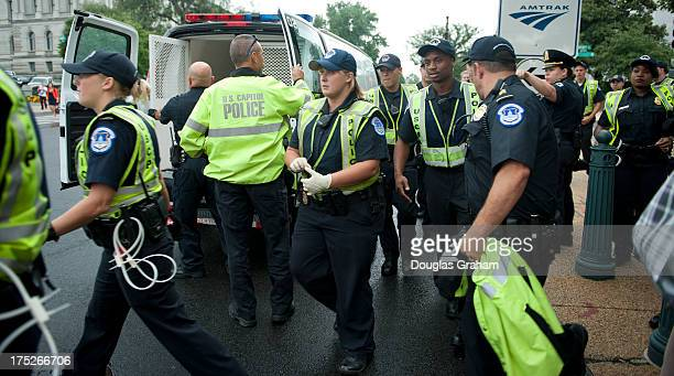 US Capitol Hill police get set to make arrest of Immigration protesters from DREAMers and CASA in Action after they blocked Independence Ave in front...