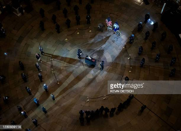 Capitol Hill Police Officer Brian Sicknick lies in honor in the Rotunda of the U.S. Capitol Building in Washington, DC on February 2, 2021. - The US...