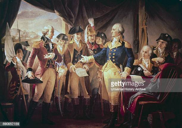 US Capitol paintings George Washington with British soldiers at Yorktown painting in US Capitol II