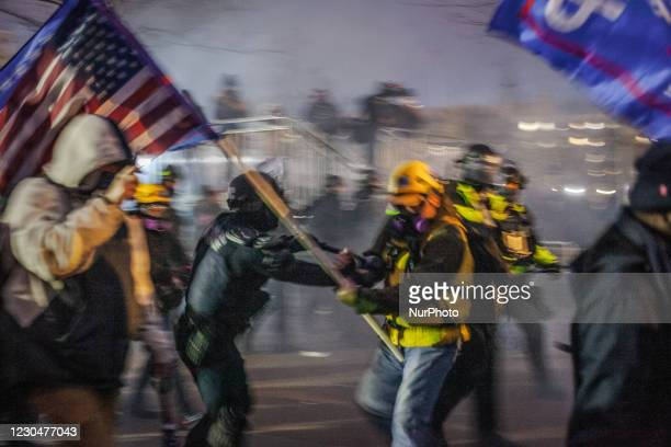 Capitol Police and MPD used physical force and tear gas to force the Trump supporters further away from the U.S Capitol, on January 06, 2021 in...