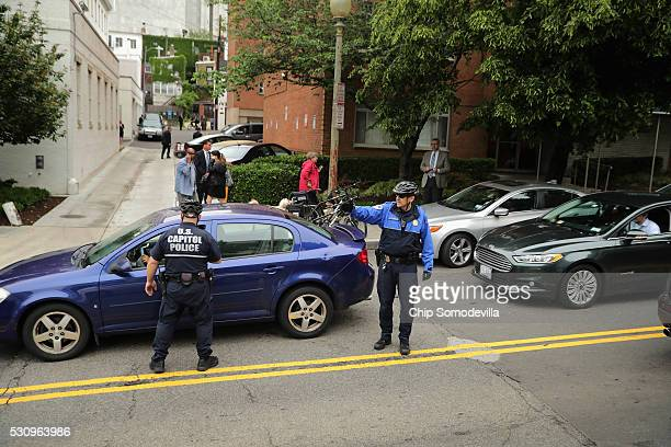 S Capitol Police move a traffic accident away from the Republican National Committee headquarters on Capitol Hill ahead of a meeting between...