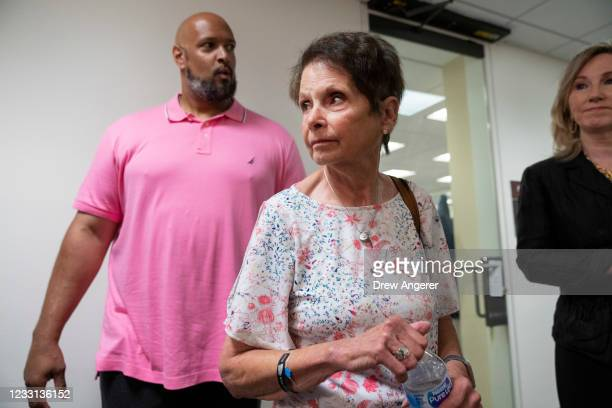 Capitol Police Officer Harry Dunn and Gladys Sicknick, the mother of late Capitol Police Officer Brian Sicknick, arrive for a meeting with Sen. Ron...