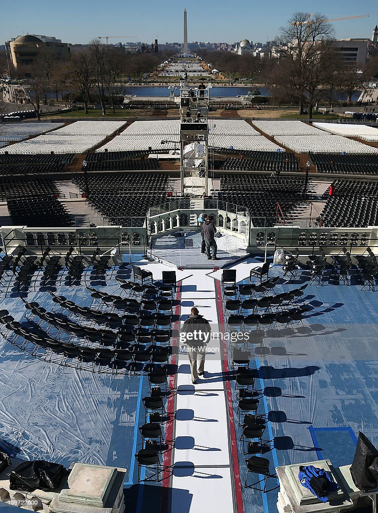 A U.S. Capitol Police officer Jeffery stands guard on the inauguration platform at the U.S. Capitol Building on January 19, 2013 in Washington, DC. The U.S. capital is preparing for the second inauguration of U.S. President Barack Obama, which will take place on January 21.
