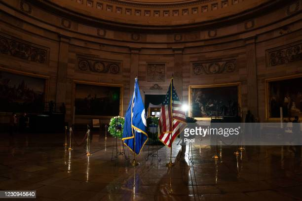 Capitol Police officers pay their respects before a ceremony memorializing U.S. Capitol Police Officer Brian D. Sicknick as he lies in honor in the...