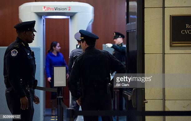 S Capitol Police officers screen visitors with an L3 ProVision2 body scanner in the Capitol Visitor Center in the Capitol on Thursday Jan 7 2016