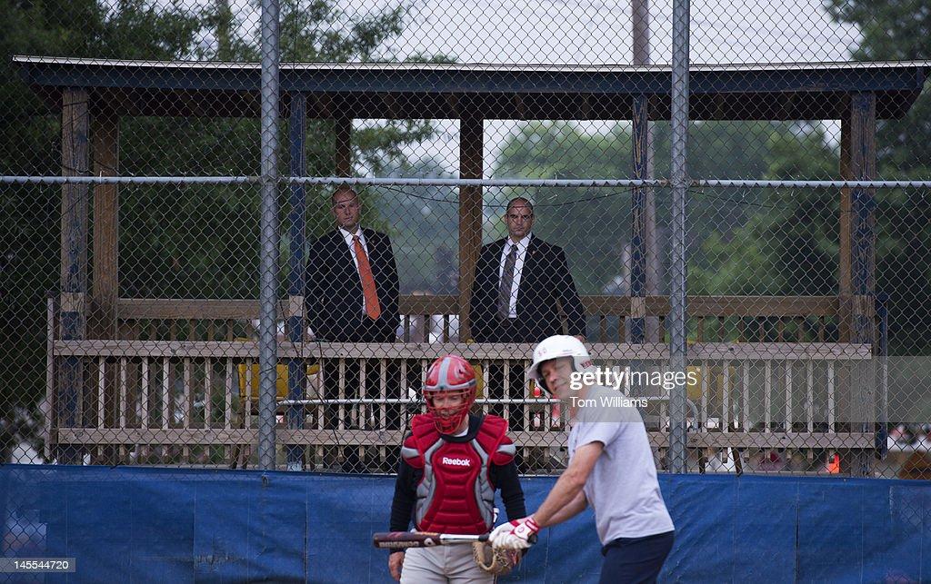Capitol Police oversee republican baseball practice at Simpson Stadium in Alexandria, Va.
