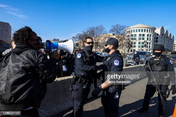 Capitol Police prepare to make arrests as anti-Trump protesters gather on the West Front of the U.S. Capitol on January 13, 2021 in Washington, DC....