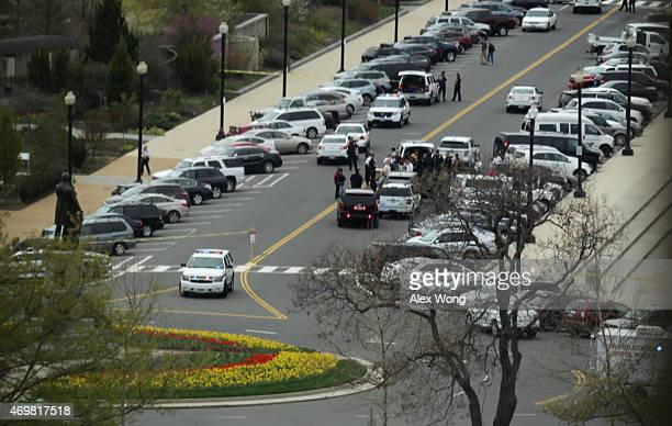 S Capitol Police shut off Maryland Aveune after a gyrocopter has landed on the West Lawn of the US Capitol April 15 2015 in Washington DC Doug Hughes...