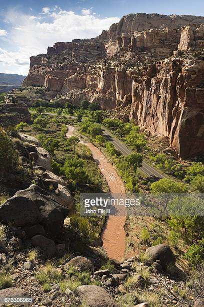 capitol reef np, fremont river gorge landscape - capitol reef national park stock pictures, royalty-free photos & images