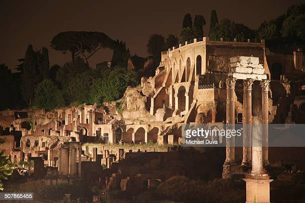 Capitoline Hill Roman Ruins at night