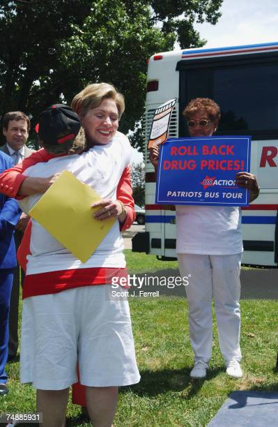 S CAPITOLSen Hillary Rodham Clinton DNY and Marilyn Gourley of Binghamton NY embrace after Gourley finished speaking and others during a rally...