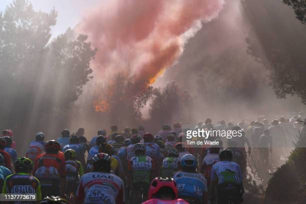 Capo Berta / Smoke flares / Fire / Peloton / Fans / Public / during the 110th MilanoSanremo 2019 a 291km race from Milano to Sanremo /...