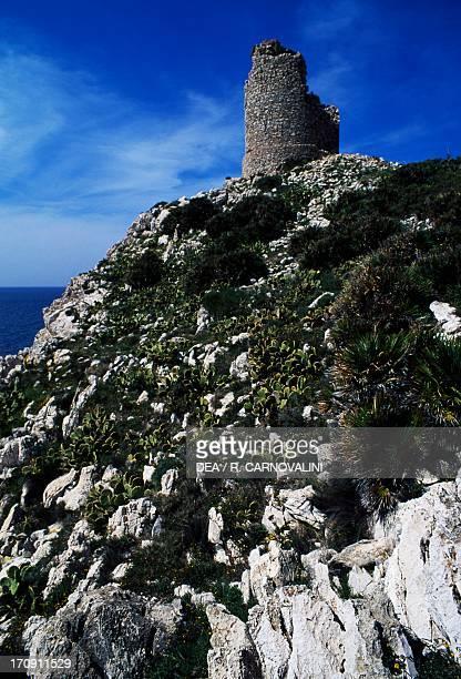 Capo Rama Tower, Capo Rama Natural Reserve, Sicily, Italy.