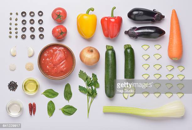 caponata knolling style - knolling concept stock pictures, royalty-free photos & images