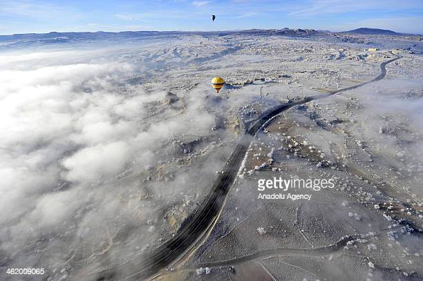 CAPPADOCIA NEVSEHIR TURKEY JANUARY 12 Cappadocia a historical region in Central Anatolia largely in Nevsehir Province known for the fairy chimneys...