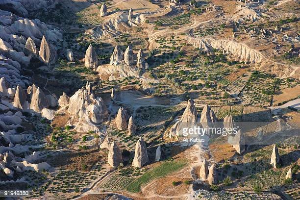 cappadocia as seen from a hot air baloon, central anatolia, turkey - ali kabas stock pictures, royalty-free photos & images