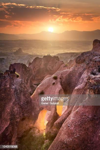cappadocia at beautiful sunset, goreme, turkey - rock hoodoo stock pictures, royalty-free photos & images