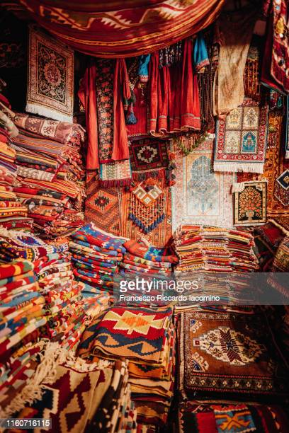 cappadocia, colorful carpet market. turkey - east stock pictures, royalty-free photos & images
