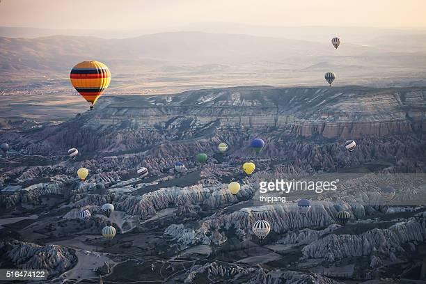 Cappadocia, Sunrise sky with hot air balloons
