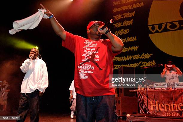RZA Cappadonna and Raekwon the Chef of the WuTang Clan perform as part of Guerilla Union's 'Rock the Bells IV' at the Sleep Train Pavillion in...