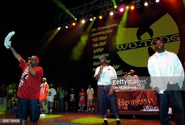 Cappadonna RZA Raekwon the Chef and UGod of the WuTang Clan perform as part of Guerilla Union's 'Rock the Bells IV' at the Sleep Train Pavillion in...