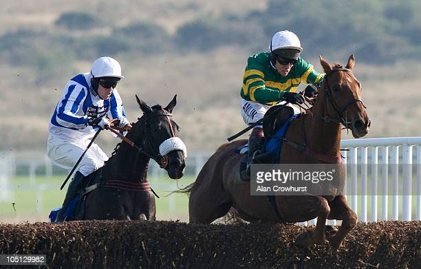 Cappagh ridden by jockey Richard Johnson clear the last to win the Eps Ltd Novices' Chase during Ffos Las Races at Ffos Las racecourse on October 10...