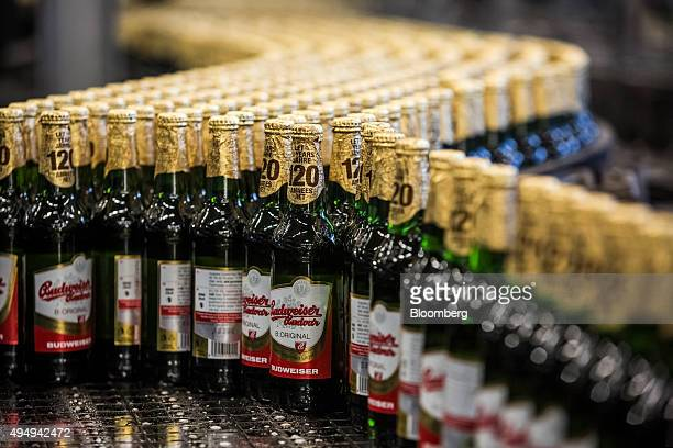 Capped and labelled bottles of Budweiser Budvar beer move along a conveyor belt at the Budejovicky Budvar NP production plant in Ceske Budejovice...