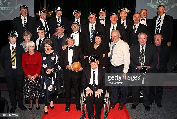 Capped former All Blacks pose for a group photo during the New Zealand All Blacks Test Capping Ceremony at the Theatre Royal on June 11 2010 in New...