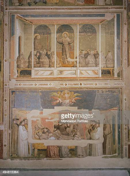 Cappella Bardi by Giotto di Bondone c 1325 14th Century fresco Italy Tuscany Florence Basilica of Santa Croce Detail Apparition at the Chapter House...