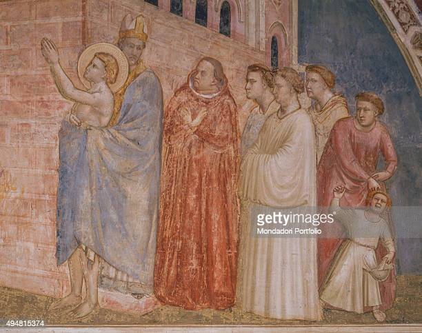 Cappella Bardi by Giotto di Bondone c 1325 14th Century fresco Italy Tuscany Florence Basilica of Santa Croce Detail Renunciation of worldly goods...