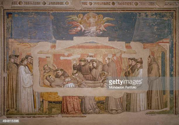 Cappella Bardi by Giotto di Bondone c 1325 14th Century fresco Italy Tuscany Florence Basilica of Santa Croce Detail The exequies of Saint Francis...