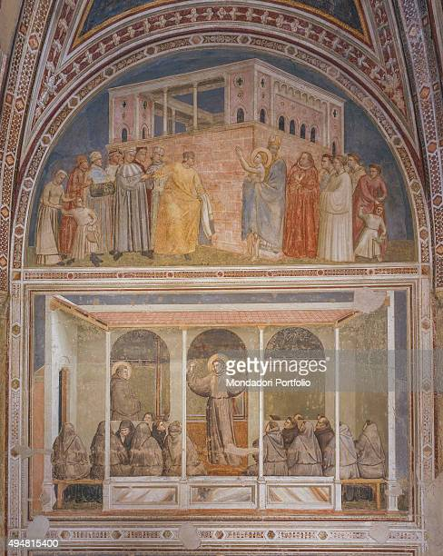 Cappella Bardi by Giotto di Bondone c 1325 14th Century fresco Italy Tuscany Florence Basilica of Santa Croce Detail Renunciation of worldly goods...