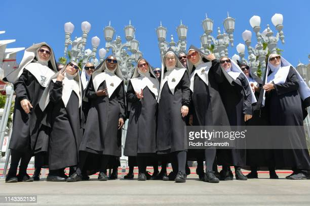 Cappella Nuns from the Chattering Order of St Beryl perform at LACMA ahead of Amazon's Premiere of Good Omens on April 17 2019 in Los Angeles...