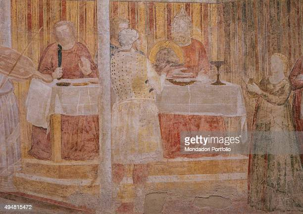 Cappella Peruzzi by Giotto di Bondone c 13181322 14th Century fresco Italy Tuscany Florence Basilica of Santa Croce Detail Feast of Herod Herod...