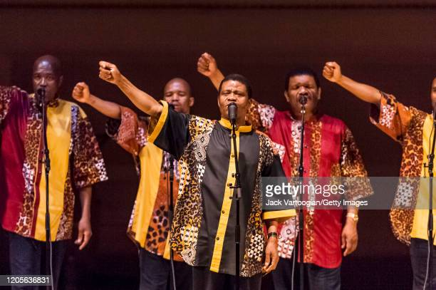 A cappella vocal group Ladysmith Black Mambazo from Durban South Africa led by Joseph Shabalala perform songs in Zulu 'Isicathamiya' during their...