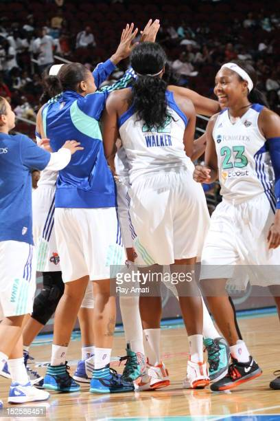 Cappie Pointexter of the New York Liberty celebrates the victory with the team over the Tulsa Shock on September 22 2012 at the Prudential Center in...