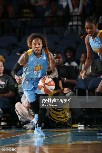 Cappie Pondexter of the Chicago Sky brings the ball up court against the Phoenix Mercury on July 28 2017 at Allstate Arena in Rosemont IL NOTE TO...
