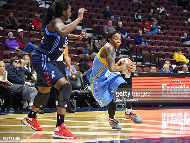 Cappie Pondexter of the Chicago Sky drives to the basket against the Atlanta Dream during a WNBA preseason game between the Atlanta Dream and Chicago...