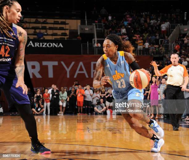 Cappie Pondexter of the Chicago Sky drives to the basket against the Phoenix Mercury on June 16 2017 at Talking Stick Resort Arena in Phoenix Arizona...