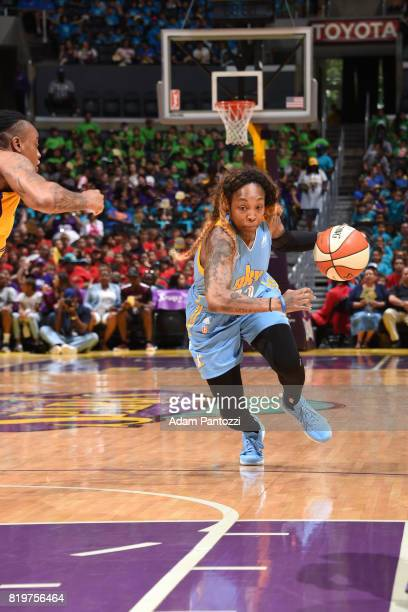 Cappie Pondexter of the Chicago Sky drives to the basket against the Los Angeles Sparks on July 20 2017 at the STAPLES Center in Los Angeles...