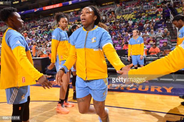 Cappie Pondexter of the Chicago Sky gets introduced before the game against the Phoenix Mercury on June 16 2017 at Talking Stick Resort Arena in...