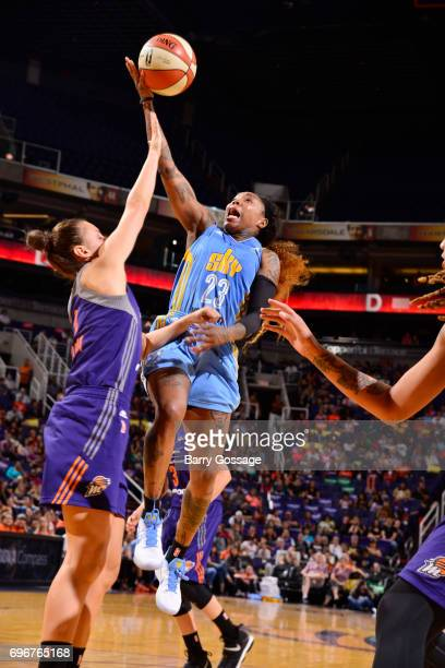 Cappie Pondexter of the Chicago Sky goes for a lay up against the Phoenix Mercury on June 16 2017 at Talking Stick Resort Arena in Phoenix Arizona...