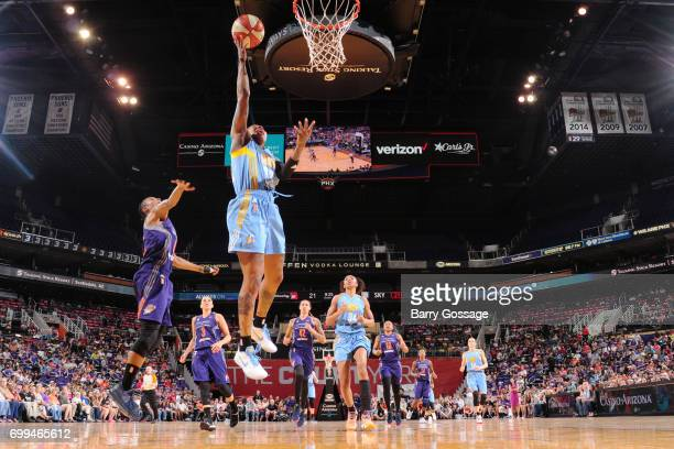 Cappie Pondexter of the Chicago Sky goes to the basket against the Phoenix Mercury on June 16 2017 at Talking Stick Resort Arena in Phoenix Arizona...
