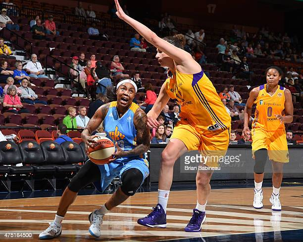 Cappie Pondexter of the Chicago Sky handles the ball against the Los Angeles Sparks on May 27 2015 at Mohegan Sun in Uncasville Connecticut NOTE TO...