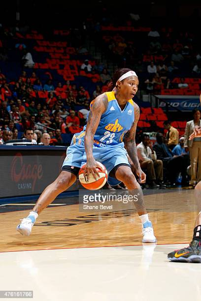 Cappie Pondexter of the Chicago Sky handles the ball against the Tulsa Shock on June 6 2015 at the BOK Center in Tulsa OK NOTE TO USER User expressly...
