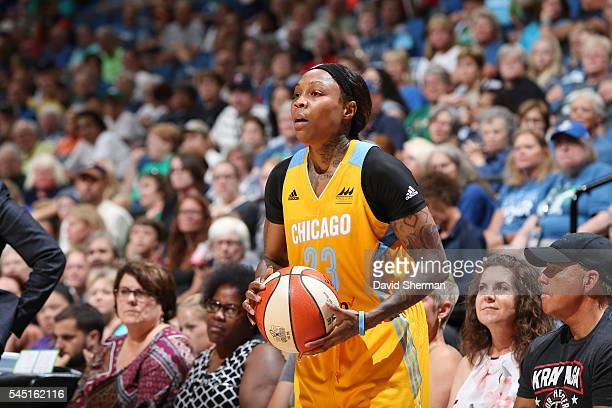 Cappie Pondexter of the Chicago Sky handles the ball against the Minnesota Lynx on July 5 2016 at Target Center in Minneapolis Minnesota NOTE TO USER...